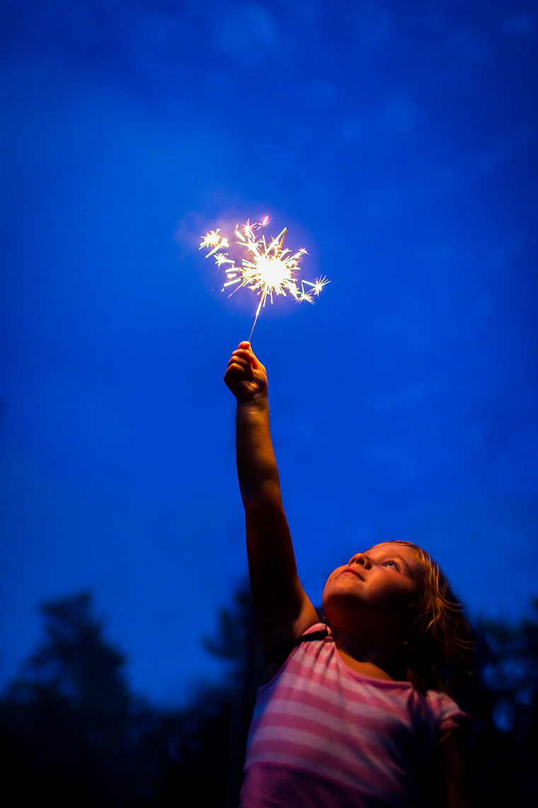 4th of July Sparkler Girl by Dave White Photographer.